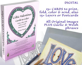 Original Valentine and Love-themed coloring card set from Artist Kim Victoria * High Resolution Digital File (PDF format)