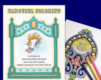 Carousel Merry-Go-Round Coloring Book Digital Download PDF File 17 Original Designs
