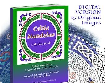 Celtic Mandala Coloring Book Digital Version High Resolution PDF File 15 Original Designs
