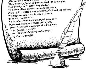 Robert Burns Scottish Poems PDF set Auld Lang Syne, To a Haggis, Selkirk Grace