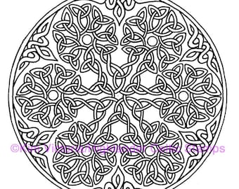 Snowflake Large Round Knotwork Rubber Stamp #100, Celtic, Scottish, Irish, Kells, Trinity, Christian, Christmas, Ornament