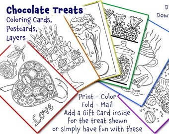 Chocolate Treats Coloring Digital Download for Cards, Postcards, Layers, Valentine, Love, Friendship, Birthday