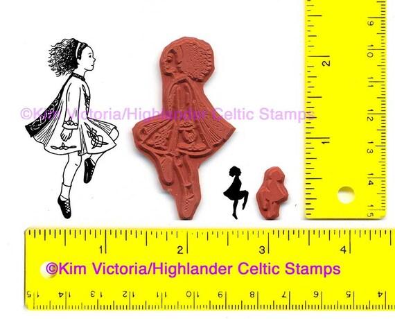 Irish Dancer Softshoe Girl 2 Rubber Stamps #342 and #036 Ghillies Jig Feis Stepdance Ireland mini