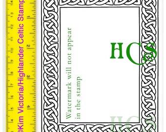 Large Celtic Knotwork Frame Rubber Stamp Rectangular Border #132
