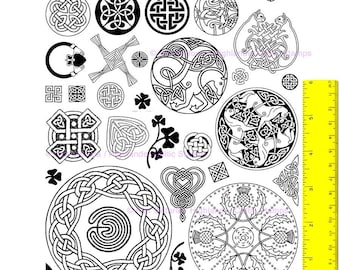 Celtic Knots, Variety Collection, round, square, heart, thistle, cat, horse, labyrinth, cross, more,35 UN-cut UN-mounted Rubber Stamps #1031
