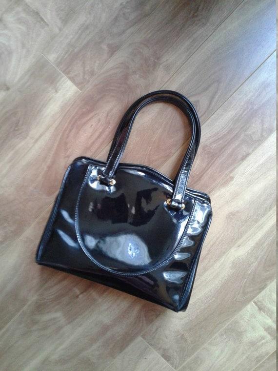 PATENT Leather, Kelly Bag   50s Handbag, Mid Cent… - image 2