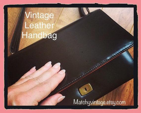 Vintage Bag Brown Leather 1960s Designer Coret Bro