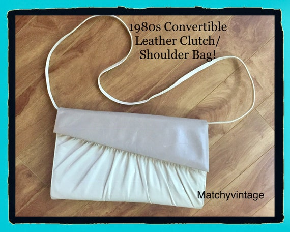 Vintage 1980s Shoulder Bag Cream & Beige Leather C