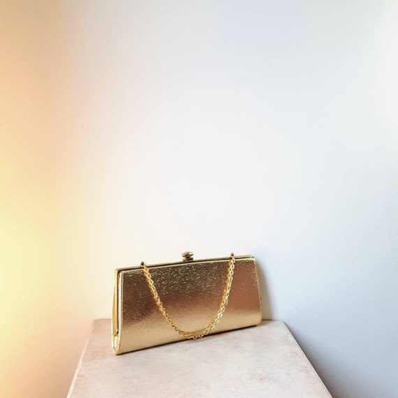 1960s, GOLD CLUTCH   Formal Clutch   60s Bag, 1960