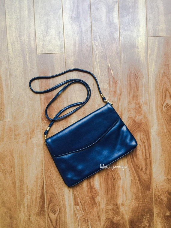 Navy Blue 80s 90s Retro Shoulder Clutch Bag | Smal