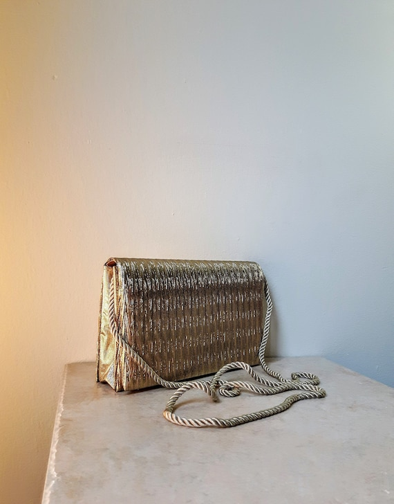 Gold Box Clutch Bag | Vintage Metallic Lame Struct