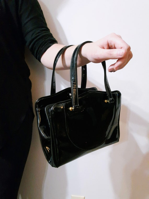 PATENT Leather, Kelly Bag   50s Handbag, Mid Cent… - image 1