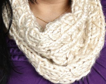 Convertible cowl, two in 1 styles cowl, womens infinity scarf, chunky cowl, cream cowl, offwhite cowl, womens neck warmer, gifts for her