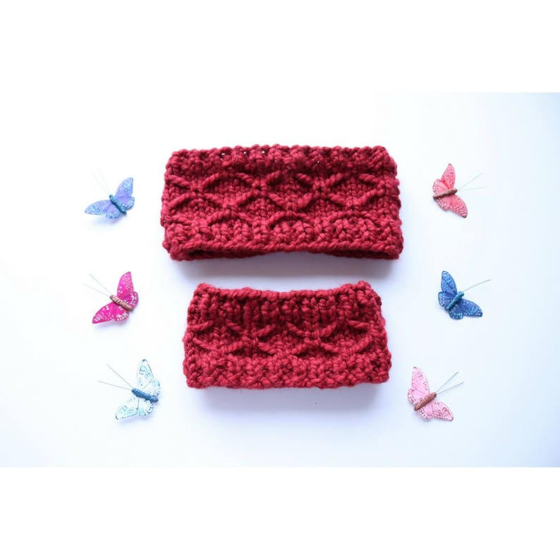 KNITTING PATTERN SALE Mommy and Me Butterfly Ear Warmer image 0