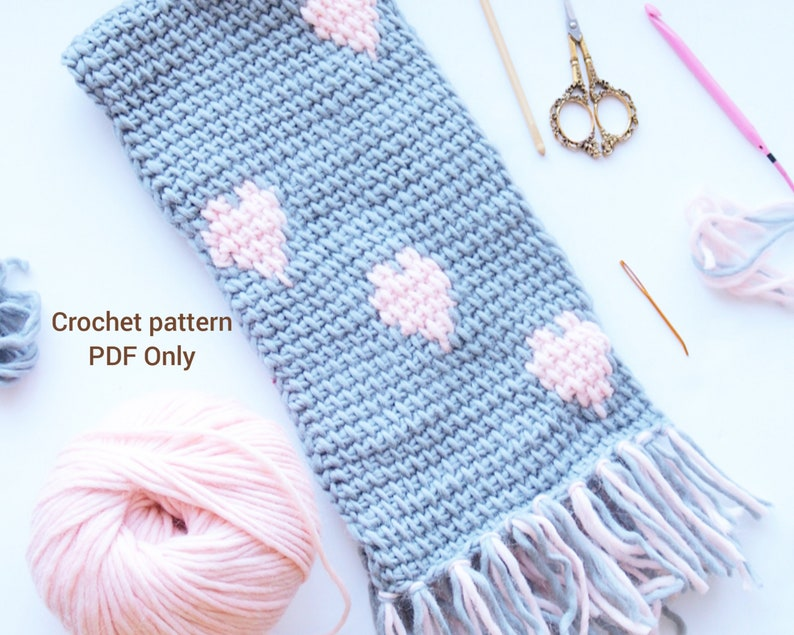 Tunisian Heart Scarf Crochet Scarf Pattern Tunisian Crochet Etsy
