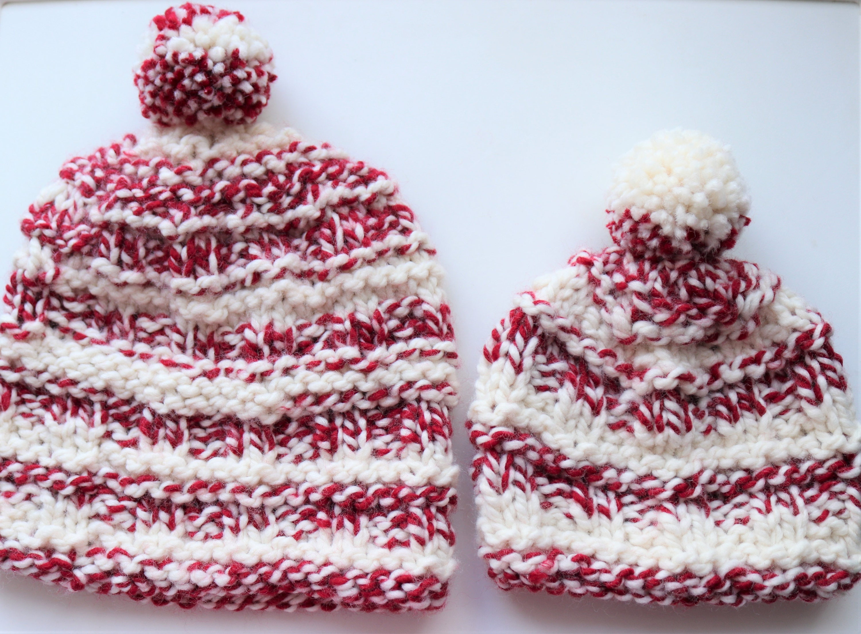 Set of 2 Knit Daddy and Me Hats Red and White striped Slouchy  7926ab82b5d