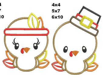 2 Designs - Turkey boy and Girl Thanksgivings Machine Embroidery  applique design  instant download