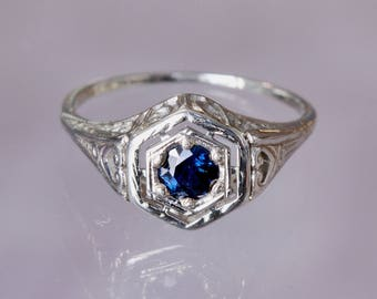 White Gold Sapphire Ring, Genuine Sapphire Ring, Vintage Ring, Reproduction Ring, Vintage Sapphire Ring, Sapphire Engagement Ring