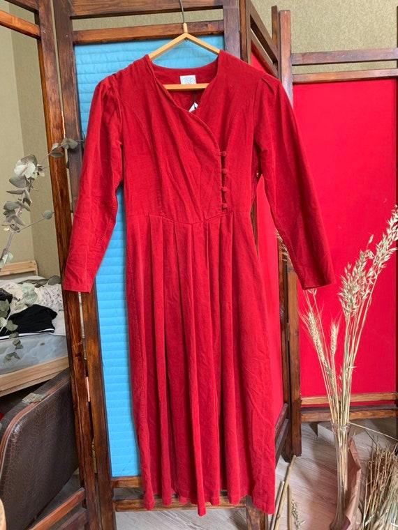 Laura Ashley Corduroy Red dress/ midi red dress/ L