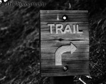 Artistic Photograph-- Trail--Gifts for men women, for her, him, forest, sign, black and white, minimalist, nature, decor, wall art, prints