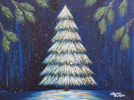 Acrylic Christmas Tree Painting.Original Painting Of A Glowing Christmas Tree Acrylic On Canvas Signed By The Artist