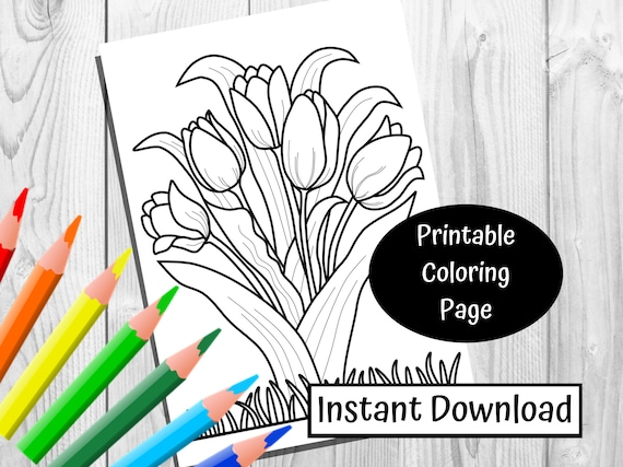Tulip Coloring Page  Instant Download Simple Coloring Page