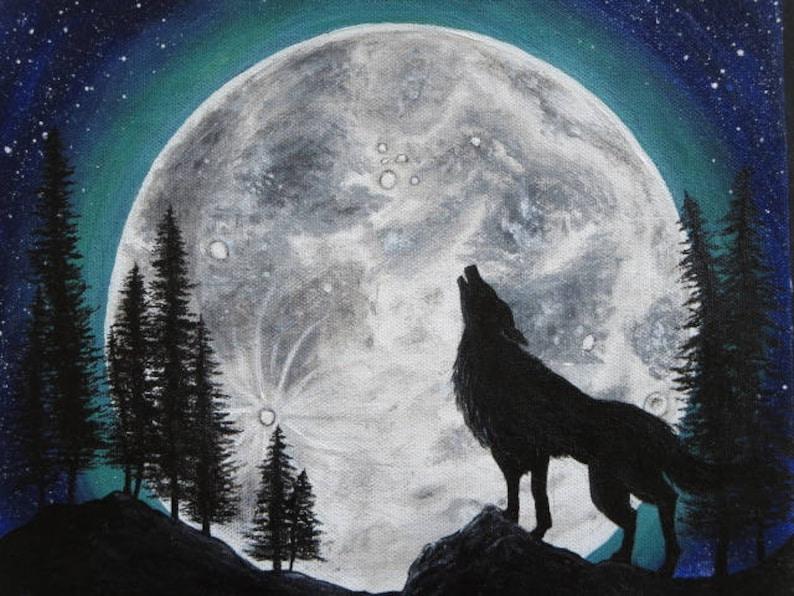 Pittura lupo che un ulula nella originale pienaEtsy di luna bY7yf6g