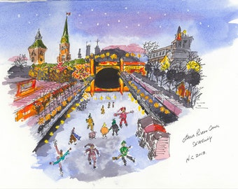Ottawa Rideau Canal Skateway. Lots of fun characters and bright colours. Longest naturally frozen skateway in the world.