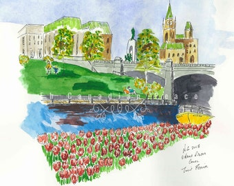Ottawa Tulip Festival Rideau Canal. Beautiful watercolour art of the Ottawa's Rideau Canal and tulips. Spring is the air.