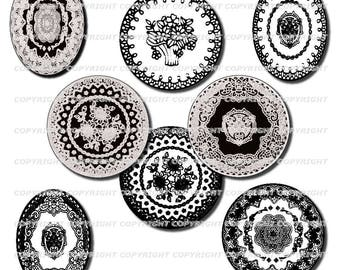 60 digital images for jewelry Black and white lace theme round and oval