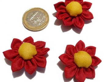Set 3 Japanese KANZASHI pointed 3.5 cm red somewhat dark and yellow flowers