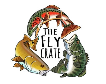 Trout Bass Redfish Circle Fly Fishing Decal - Fly Fishing Sticker - Fishing Decal - Fishing Sticker - 3.5 inches