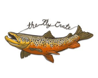 Extra Large Brown Trout Fly Fishing Decal - Fly Fishing Sticker - Brown Trout Decal - Fishing Decal - Fishing Sticker - 6.5 inches