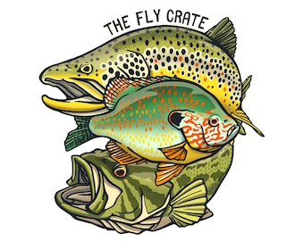 Brown Trout Panfish Bass Combo Fly Fishing Decal - Fly Fishing Sticker - Fishing Decal - Fishing Sticker - 3.5 inches