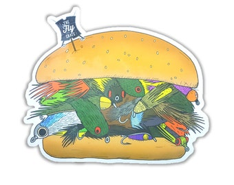 Streamer Meat Burger Fly Fishing Decal - Fly Fishing Sticker - Trout Decal - Fishing Decal - Fishing Sticker - 4 inches