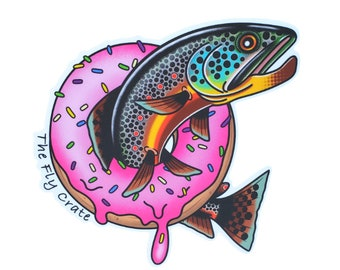 Brown Trout Donut Fly Fishing Decal - Fly Fishing Sticker - Brown Trout Decal - Fishing Decal - Fishing Sticker - 3.5 inches
