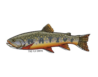 Large Native Brook Trout Fly Fishing Decal - Fly Fishing Sticker - Fishing Decal - Fishing Sticker - 6 inches