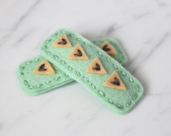 Triangles Wool Felt Hair Clip - Apricot and Mint Hair Clip - Toddler Felt Hair Clip - Girls Hair Clip - Baby Hair Clip