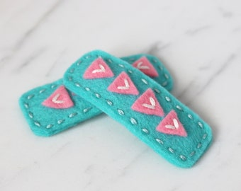 Triangles Wool Felt Hair Clip - Aqua and Pink Hair Clip - Toddler Felt Hair Clip - Girls Hair Clip - Baby Hair Clip