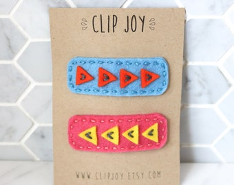 Triangles Wool Felt Hair Clip - Set of 2 - Bold Bright Modern Hair Clips - Toddler Felt Hair Clip - Girls Hair Clip - Baby Hair Clip