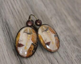 Earrings cabochon KLIMT, tear drop gold painter, art, retro, vintage, Bohemian, artist glass Leverback brass ear wires