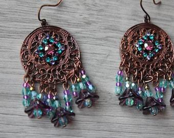 boho earrings, vintage, copper, purple and blue, and Eastern swarovski crystal, Czech glass bead