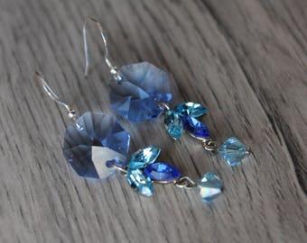 Chic dangle earrings in 925 sterling silver, swarovski crystal, blue
