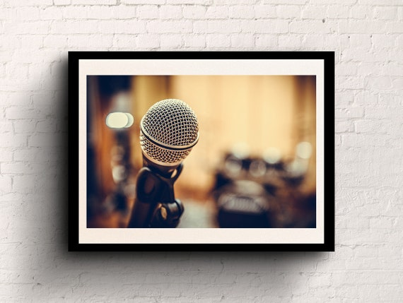 Music studio wall decor microphone photography wall art poster | Etsy