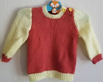 Toddler Two Tone Pull-over Sweater