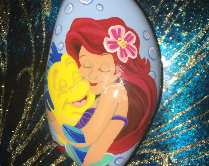 Painted rocks, gifts under 50, Disney rocks, Disney decor, the little mermaid, Ariel and flounder, Painted pebbles, rock art