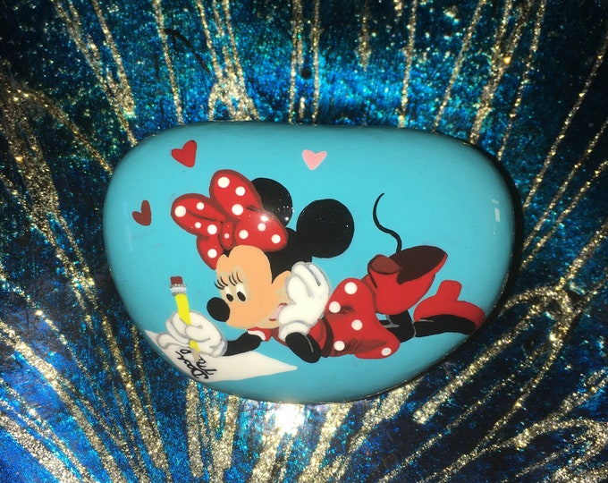 Painted rocks, hand painted stone, gifts under 50, Disney rocks, Disney decor, Minnie Mouse, Painted pebbles, valentines Minnie