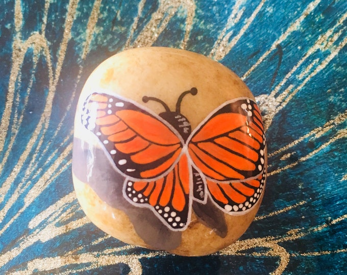 painted rock, hand painted butterfly, gifts under 50, Monarch, painted stones, nature painting