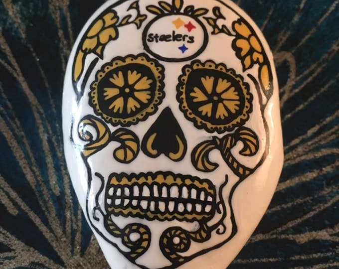 hand painted sugar skull, Pittsburgh Steelers , gifts under 50, painted rocks