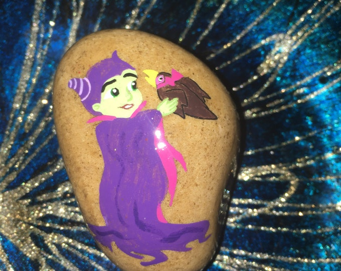 Hand painted child Maleficent, Painted rocks, gifts under 50